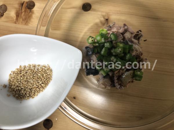 鯖缶のオクラ和えのレシピ