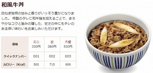 なか卯の牛丼の基本情報