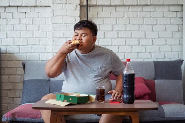 ハンバーガーを食べるデブ
